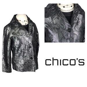 Chico's Metallic Silver Paisley Pattern Blazer
